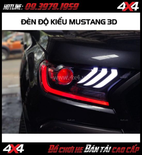 Đèn độ cho Ford Ranger 2017 2018 Wildtrak và XLT kiểu Mustang 3D 2018 sọc cong