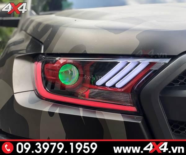 Cụm đèn trước độ mắt quỷ, Ford Mustang đẹp và tăng sáng với bi xenon Philips