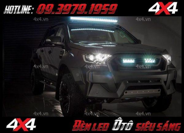 Xe bán tải trắng độ đèn led ô tô cực khủng, chất và đẳng cấp