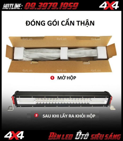 Hình ảnh đèn led bar oto: Đèn led bar 6D độ cho xe bán tải, xe ô tô sau khi được lấy ra khỏi hộp