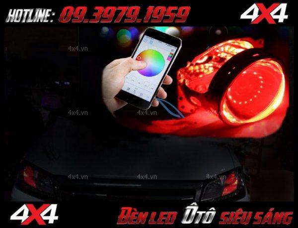 Đèn mắt quỷ màu đỏ đỏi màu bằng app điện thoại cho xe ô tô xe bán tải tại HCM