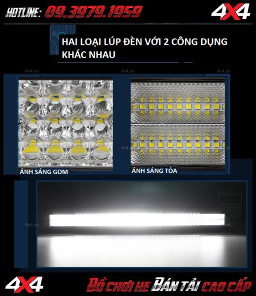 Hình ảnh đèn led bar cho xe offroad: Đèn led bar 12D với 2 loại lúp đèn cho ánh sáng tỏa và ánh sáng gom