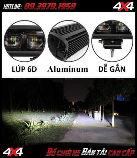 Led bar cho xe offroad: thử độ sáng của đèn led bar 6D lúp mắt ruồi vào ban đêm
