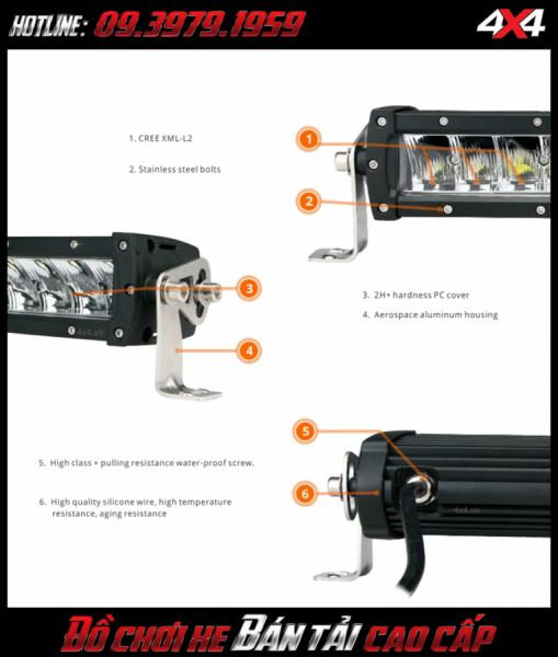 Đèn led bar ô tô, đèn led bar xe bán tải: Chi tiết đèn led bar lúp vòm gắn xe bán tải Ford Ranger 2018 2019