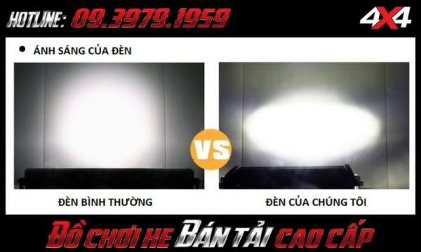 Đèn led bar ô tô, đèn led bar xe bán tải: So sánh độ sáng giứa đèn led bar lupv vòm và đèn led bar thông thường