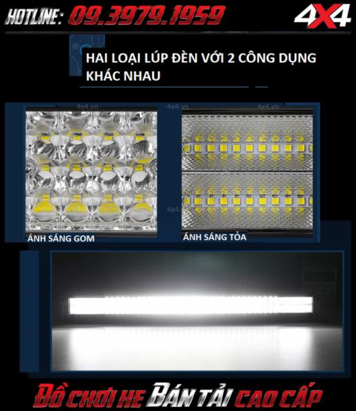 Đèn led bar 12D vừa cho ánh sáng tỏa vừa có ánh sáng gom