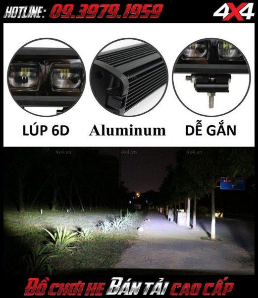 Đèn led bar ô tô, đèn led bar xe bán tải: Các ưu điểm của đèn led bar 6D và độ sáng của nó