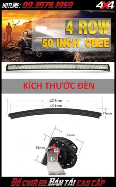 Hình ảnh đèn led bar ô tô, đèn led bar xe bán tải: Đèn led bar 8D độ đẹp với kích thước chi tiết