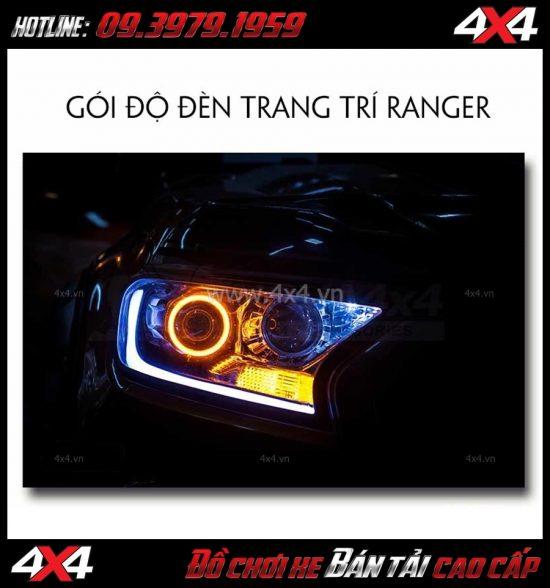Image Độ đèn Ford Ranger 2018: gói độ mí led + vòng angels eyes + mắt quỷ
