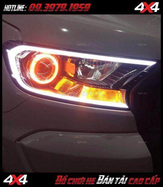 Hình ảnh Độ đèn Ford Ranger 2018: gói độ mí led + vòng angels eyes + mắt quỷ