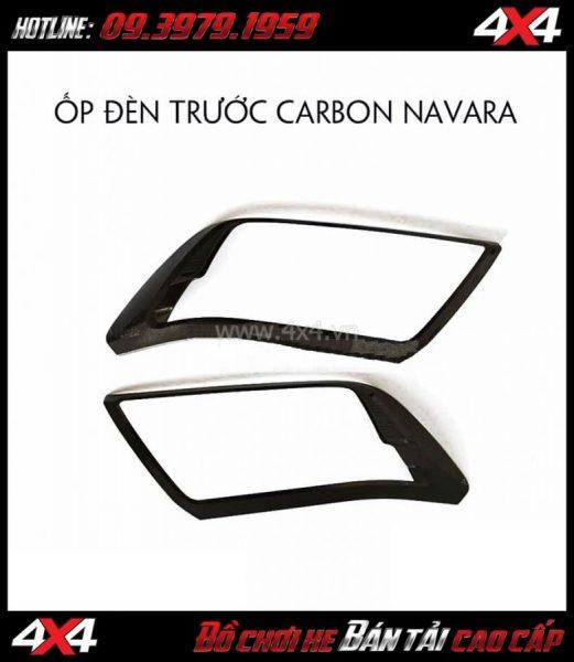 Ốp đèn trước Carbon dành cho xe bán tải Nissan Navara tại HCM