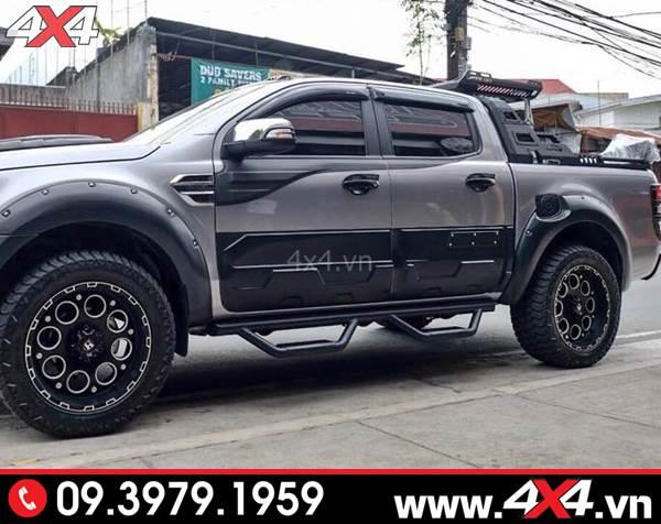 Đồ chơi xe Ford Ranger: Bệ bước kiểu Thái Lan độ đẹp và cứng cáp cho xe bán tải Ford Ranger