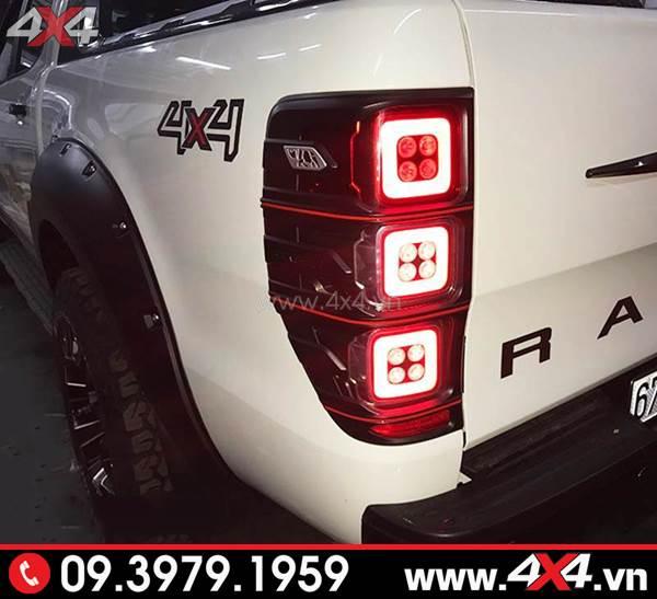 Đồ chơi xe Ford Ranger: Đèn hậu đuôi sau độ kiểu Range Rover 3 ô vuông đẹp và chất