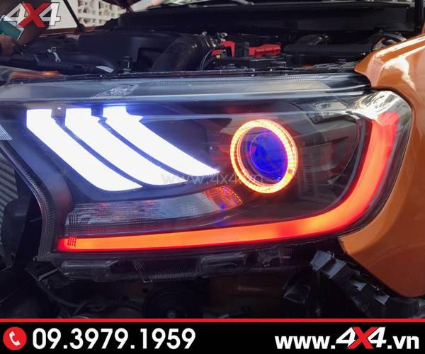 Photo đồ chơi xe Ford Ranger: Combo Đèn mắt quỷ, mí led, vòng Angel eyes mẫu Ford Mustang 3D độ đẹp cho xe bán tải Ford Ranger 2018 ở HCM