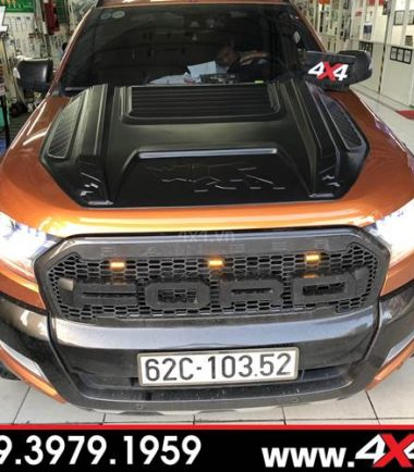 Đồ chơi xe Ford Ranger: Xe bán tải Ford Ranger độ ốp nắp capo con tê giác rhino đẹp và ngầu tại 4x4