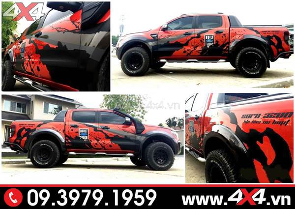 Tem dán xe Ford Ranger: Xe bán tải Ford Ranger màu đỏ lên tem đen ngầu và chất