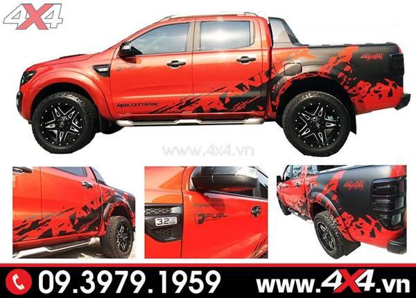 Tem dán xe Ford Ranger: Mẫu tem dán màu đen độ đẹp cho xe Ford Ranger màu đỏ