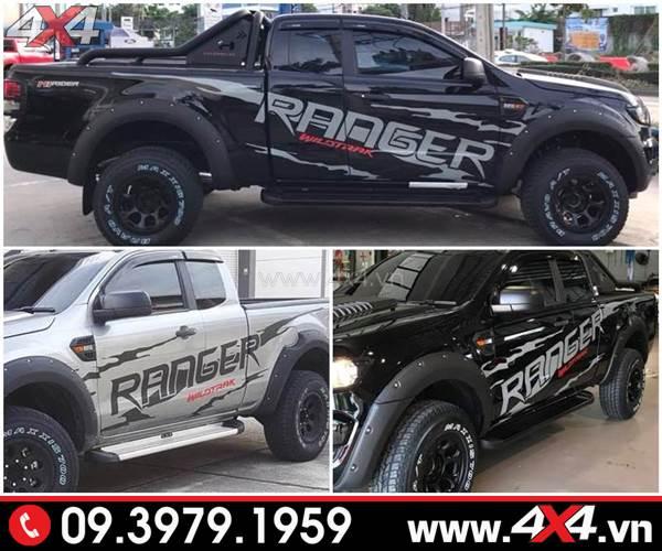 Đồ chơi xe Ford Ranger: Mẫu tem Ranger Wildtrak đẹp độ xe Ranger đen và bạc