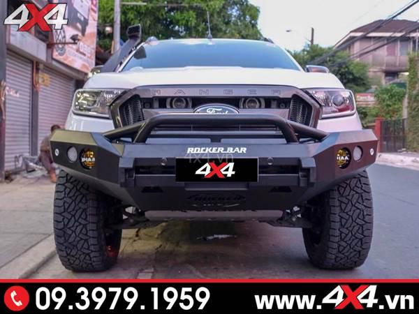 Cản trước Ford Ranger độ: Xe bán tải độ cản trước Rocker bar cứng cáp và ngầu