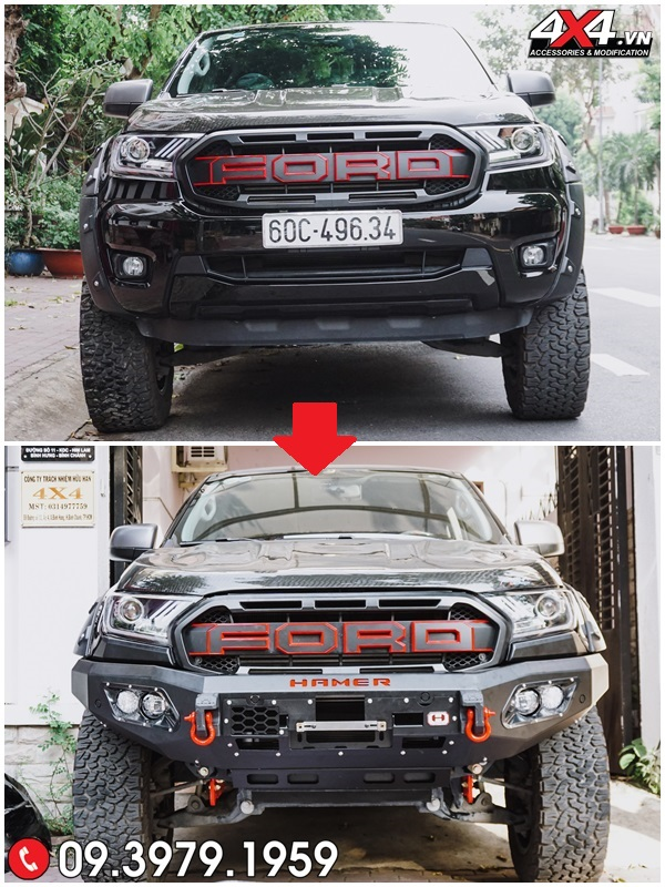 Xe Ford Ranger trước và sau khi độ cản Hammer tại 4x4