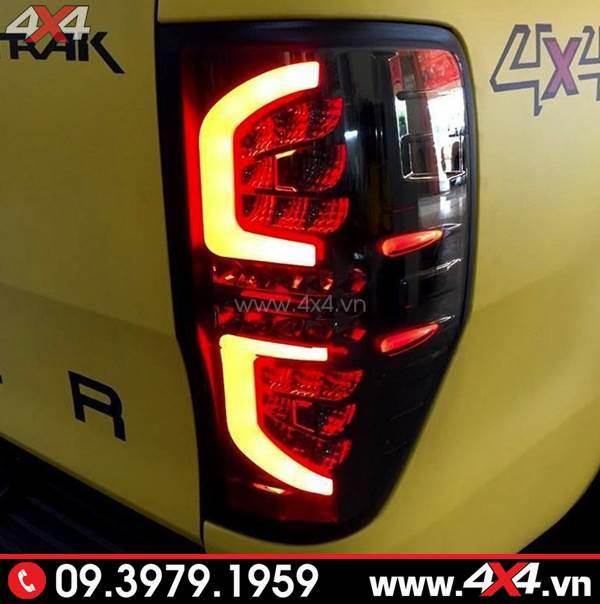 Chiếc bán tải Ford Ranger màu vàng độ đèn hậu kiểu chữ C đẹp và sang