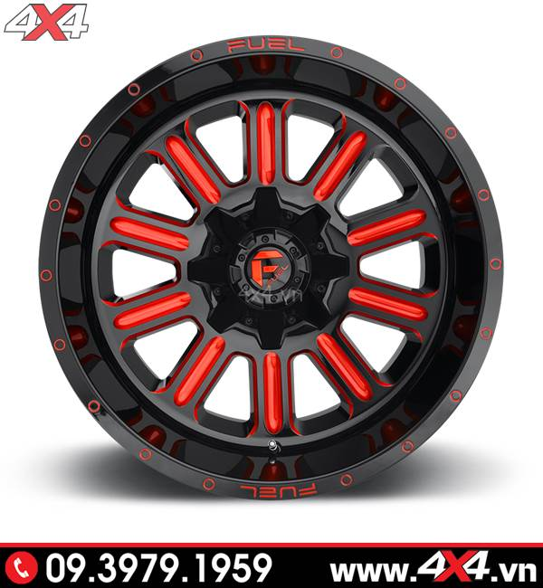 Độ mâm Ford Ranger: Mâm Fuel Hardline màu đỏ độ đẳng cấp cho bán tải