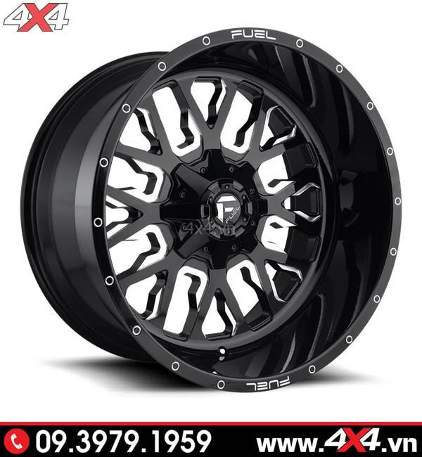 Mâm xe Ford Ranger độ: Mâm Fuel Stroke đen trắng độ đẹp và chất cho xe bán tải