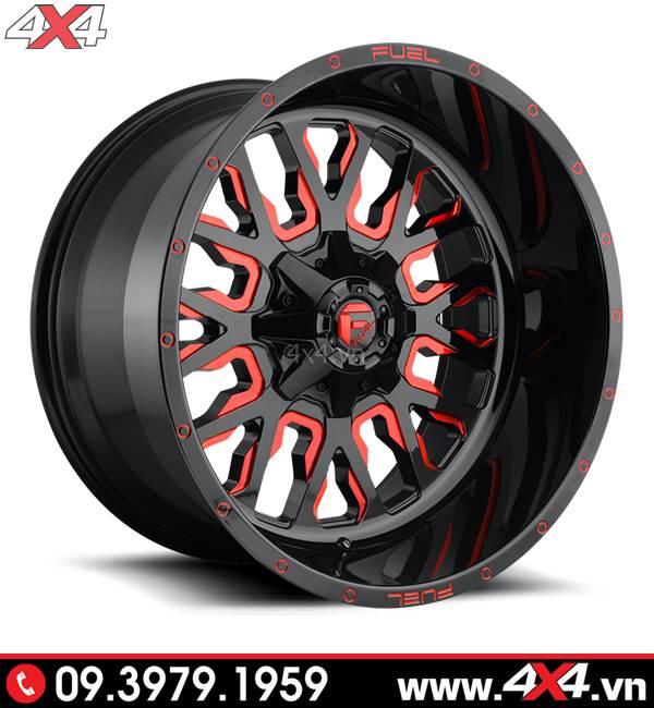 Lazang Ford Ranger độ: Mâm Fuel Stroke màu đỏ độ đẹp và ngầu