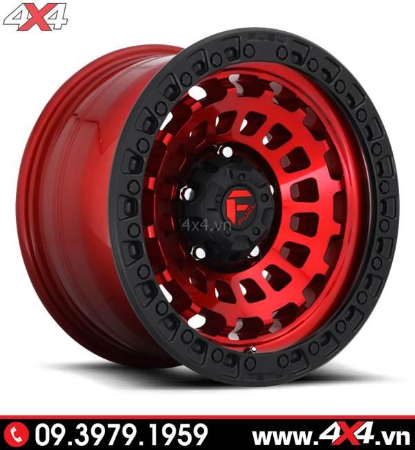 Độ mâm xe Ford Ranger: Mâm Fuel Zephyr màu đỏ viền đen độ đẹp và ngầu