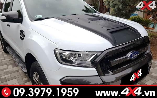 Ốp nắp capo màu đen độ cứng cáp cho Ford Ranger