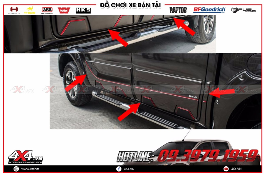 Lắp ốp hông cửa cho xe Mazda BT50 2020 cực khủng tại 4x4