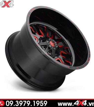 Mâm Fuel Stroke 2019 màu đỏ đen độ đẹp cho xe bán tải Ford Ranger