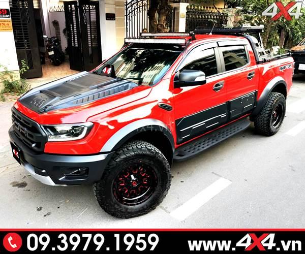 Mẫu mâm Fuel Stroke đỏ đen độ đẹp và ngầu cho xe bán tải Ford Ranger