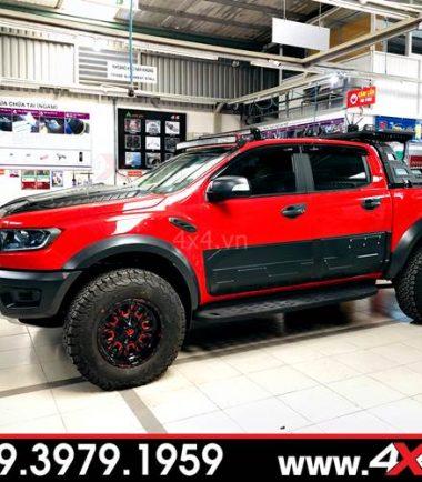 Chiếc Ford Ranger Raptor mà đỏ đen độ đẹp và ngầu với mẫu mâm Fuel Stroke 2019 đỏ đen
