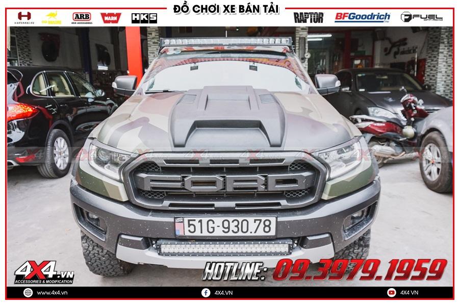 Hình ảnh độ ốp nắp capo Ford Ranger Raptor tại 4x4
