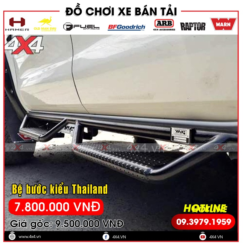 Bệ bước kiểu Thái Lan độ đẹp và đẳng cấp cho xe bán tải Ford Ranger