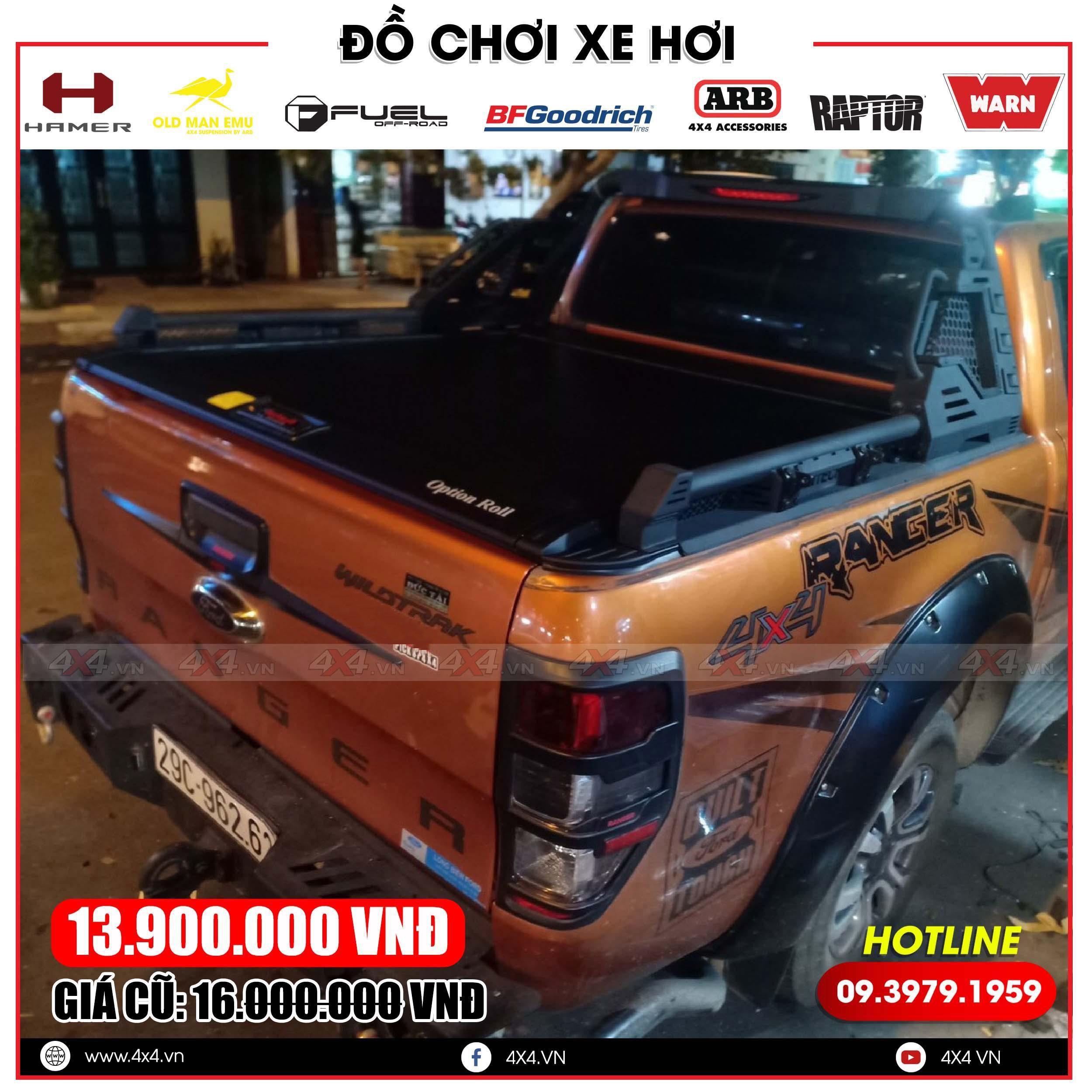 Nắp thùng cuộn Option Roll sang trọng độ đẹp và tiện lợi cho xe bán tải Ford Ranger