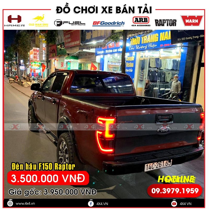 Đèn hậu độ lariat độ đẹp và đẳng cấp dành cho dòng bán tải ford XLS, XLT, Wildtrak, Ranger Raptor
