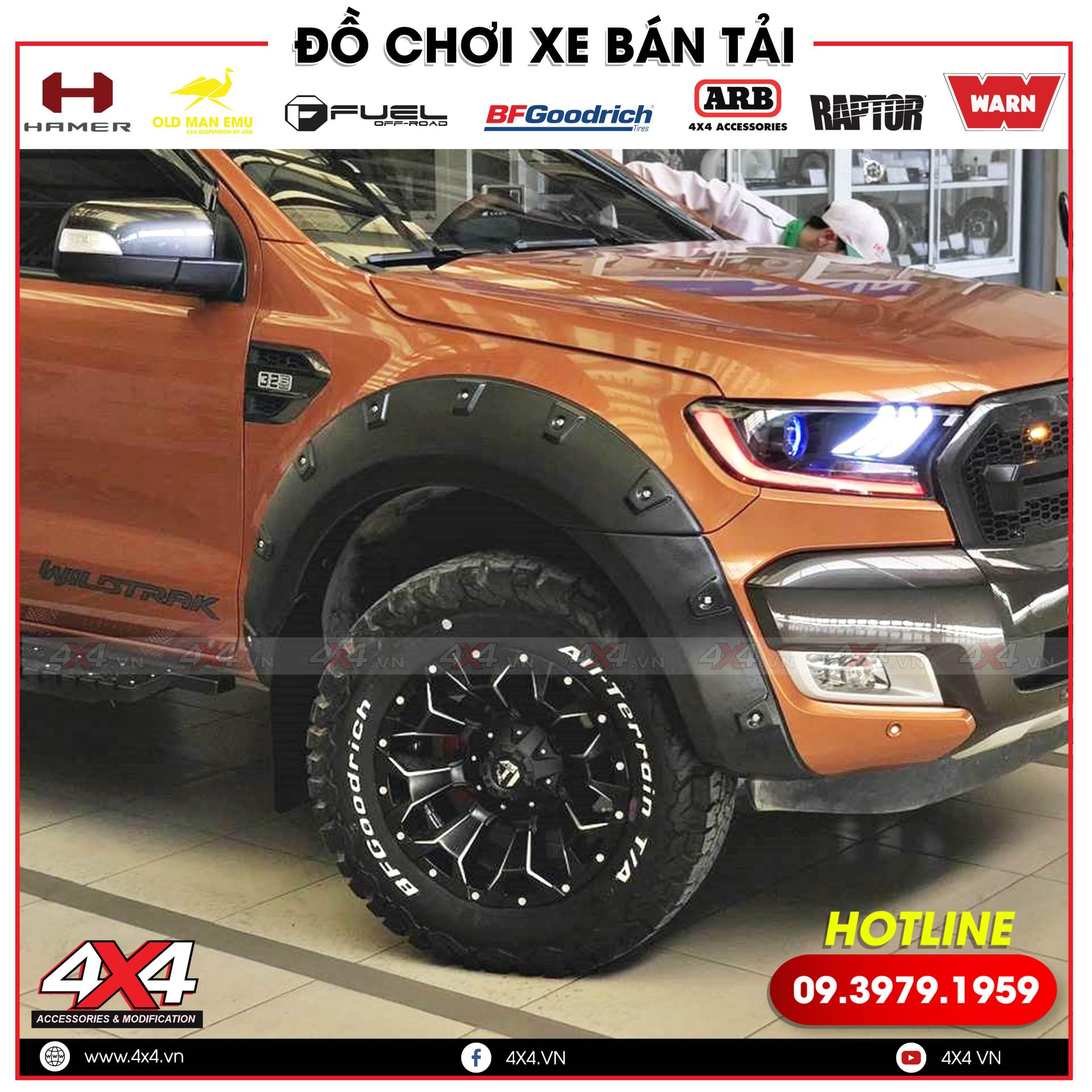 Ốp cua lốp đinh lồi độ cho xe bán tải Ford Ranger thêm hầm hố hơn, ngầu hơn