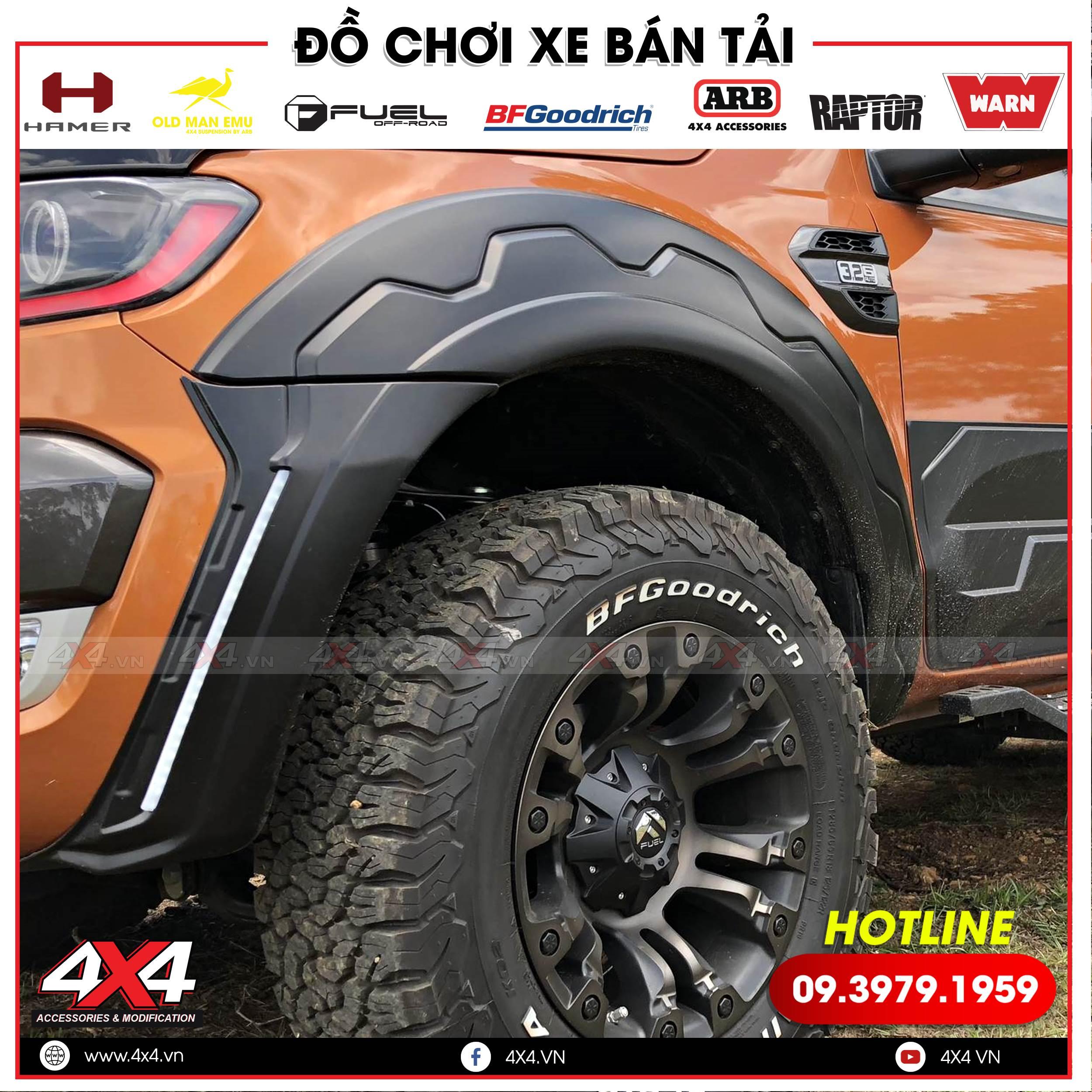 Ốp cua lốp răng cưa độ đẹp và hầm hố cho xe bán tải Ford Ranger