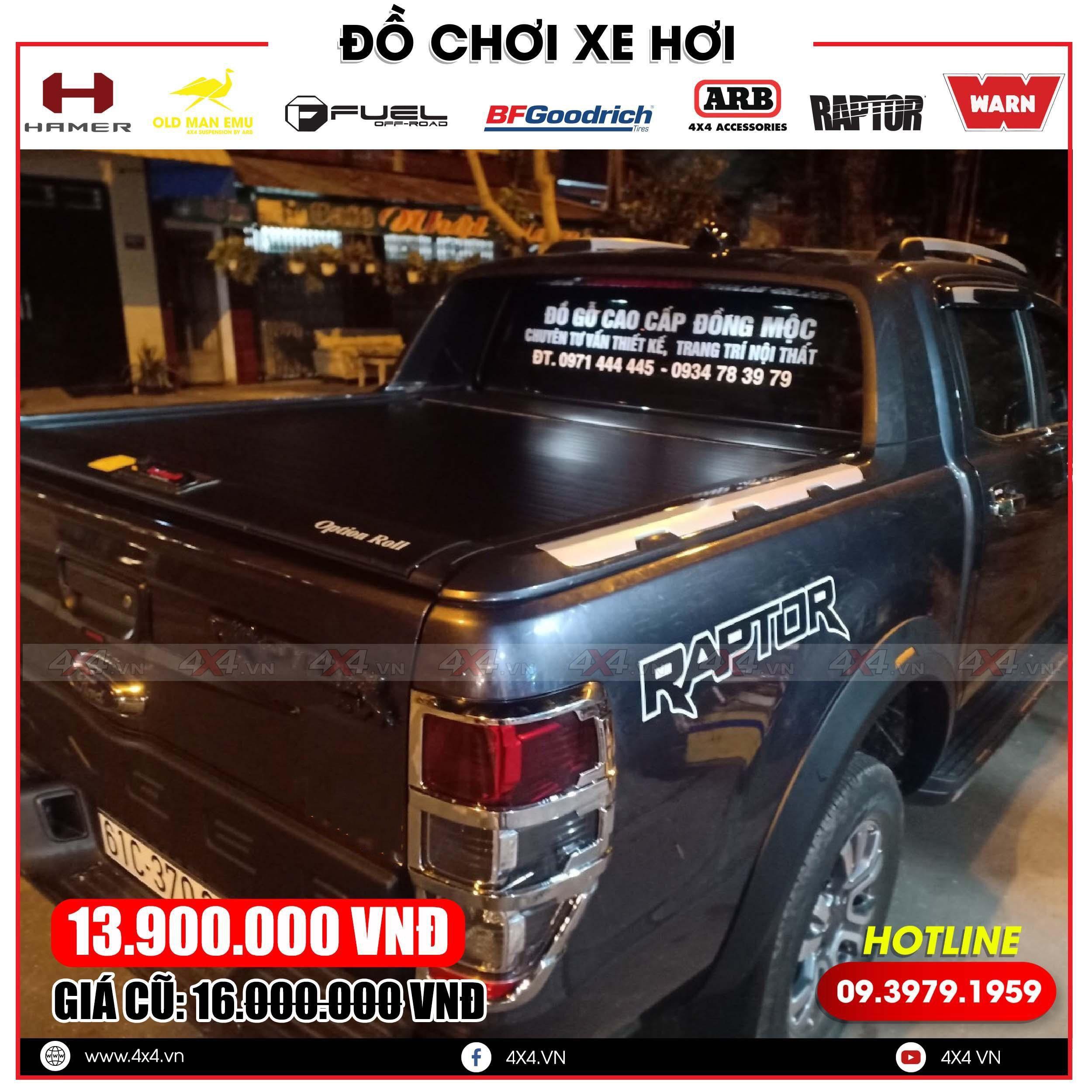 Xe bán tải Ford Ranger Raptor độ nắp thùng cuộn Option Roll đẹp, ngầu và tiện lợi