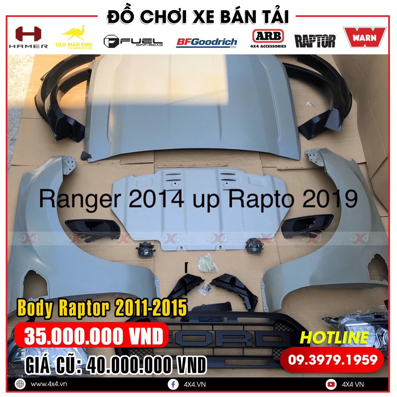 Bộ Body kit Ford Ranger Raptor lên đời cho dòng xe Ford ranger đời cũ 2011 - 2015