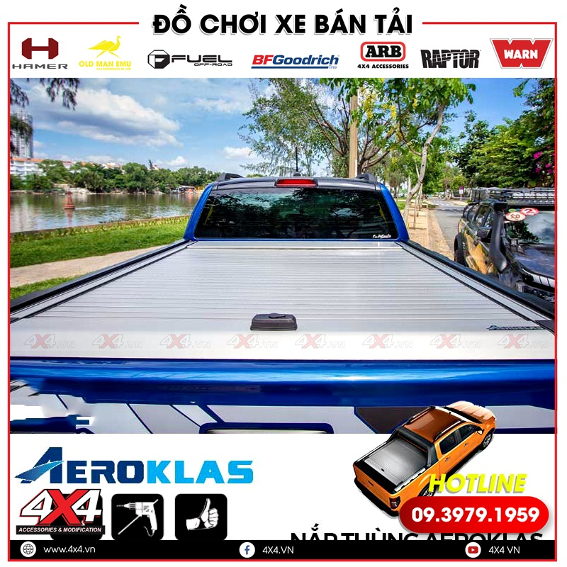 Nắp thùng cuộn Aeroklas độ không chỉ đẹp mà còn rất gọn nhẹ, tiện lợi cho xe bán tải Ford Ranger