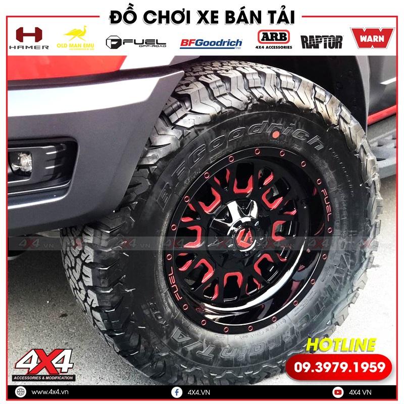 Mâm độ Fuel Stroke màu đỏ đen độ đẹp và ngầu cho xe bán tải Ford Ranger Raptor màu đỏ