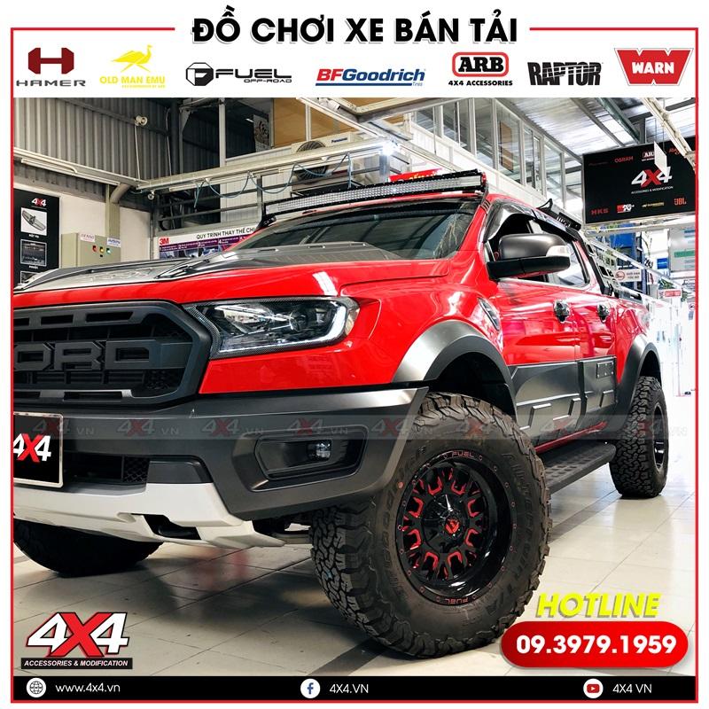 Xe bán tải Ford Ranger màu đỏ độ đẹp và ngầu