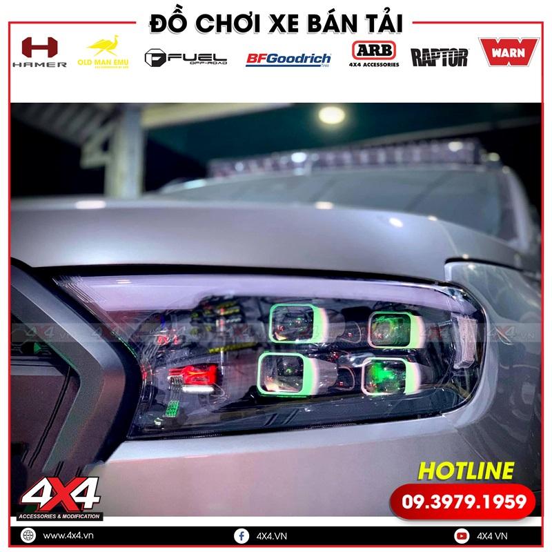 Cụm đèn trước độ bi led 4 bóng cực đẹp và đẳng cấp cho xe bán tải Ford Ranger