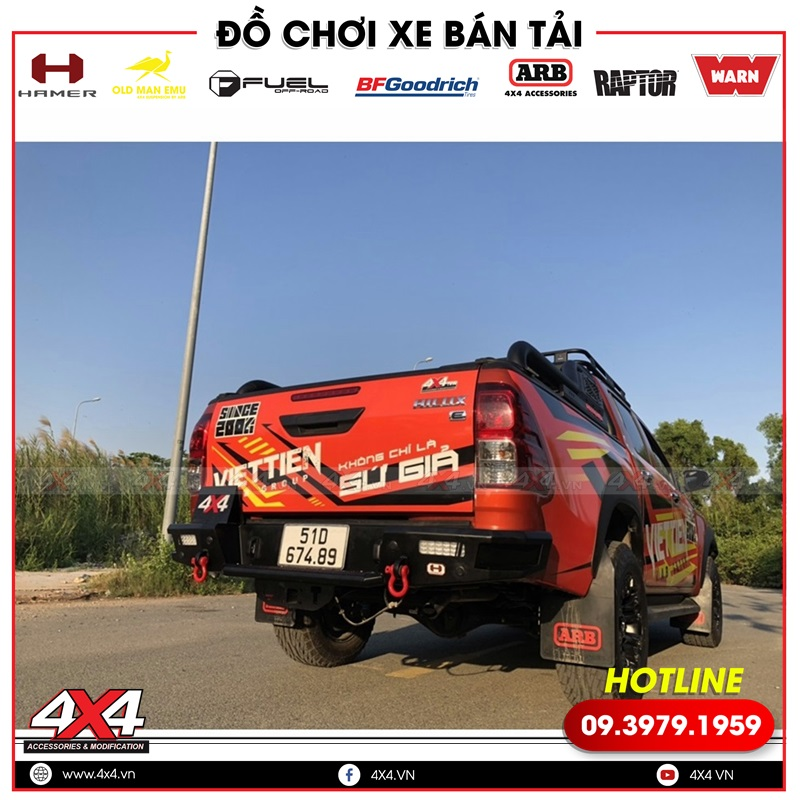 Độ cản sau Hamer xe bán tải Toyota Hilux mạnh mẽ hơn rất nhiều