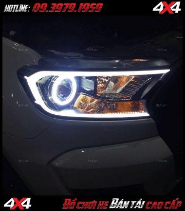 Tấm ảnh Độ đèn Ford Ranger: gói độ mí led + vòng angels eyes + mắt quỷ